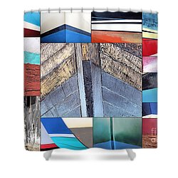 Bows Of Boats Collage  Shower Curtain