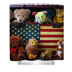 Box Full Of Bears Shower Curtain