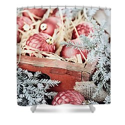 Box Of Glass Christmas Ornaments Shower Curtain