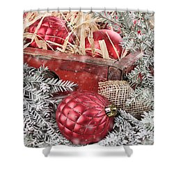 Box Of Red Glass Christmas Ornaments Shower Curtain