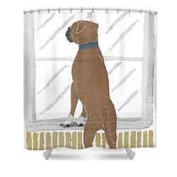 Boxer Dog Art Hand-torn Newspaper Collage Art Shower Curtain by Keiko Suzuki Bless Hue