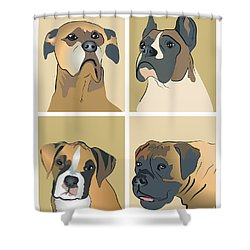 Boxer Dogs 4 Up Shower Curtain by Robyn Saunders