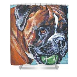 Boxer Tennis Shower Curtain by Lee Ann Shepard