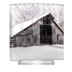 Boxley Snow Barn Shower Curtain