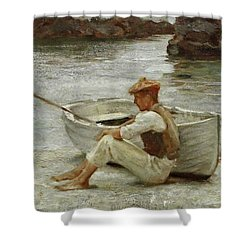 Shower Curtain featuring the painting Boy And Boat  by Henry Scott Tuke