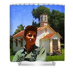 Shower Curtain featuring the photograph Boy And Church by Timothy Bulone