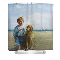 Boy And His Dog At The Beach Shower Curtain by Oz Freedgood