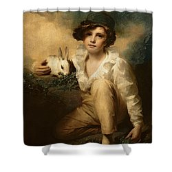 Boy And Rabbit Shower Curtain by Sir Henry Raeburn