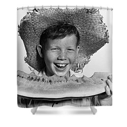 Boy Eating Watermelon, C.1940-50s Shower Curtain by H. Armstrong Roberts/ClassicStock