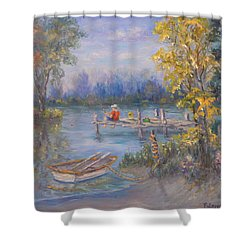 Boy Fishing On Dock And Boat On Lake Shower Curtain