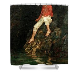 Shower Curtain featuring the painting Boy Fishing On Rocks  by Henry Scott Tuke