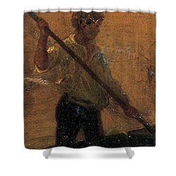 Shower Curtain featuring the painting Boy In A Punt by Henry Scott Tuke