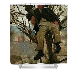 Shower Curtain featuring the painting Boy In A Tree by Henry Scott Tuke
