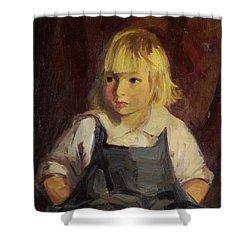 Boy In Blue Overalls Shower Curtain by Robert Henri
