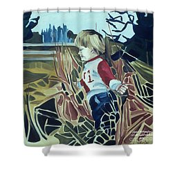 Boy In Grassy Field Shower Curtain