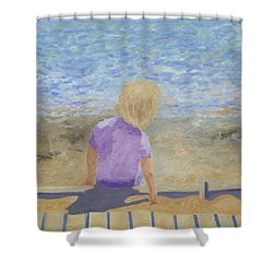Boy Lost In Thought Shower Curtain