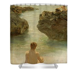 Shower Curtain featuring the painting Boy On A Beach, 1901 by Henry Scott Tuke