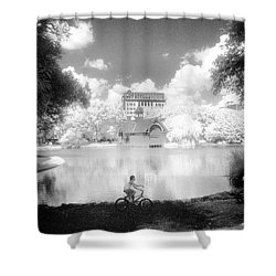 Shower Curtain featuring the photograph Boy On Bike by Dave Beckerman