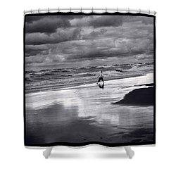 Boy On Shoreline Shower Curtain by Steve Gadomski