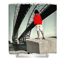 Boy Under Bridge Shower Curtain
