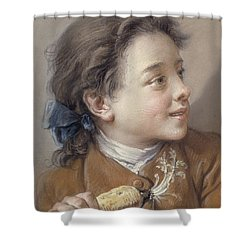 Boy With A Carrot, 1738 Shower Curtain by Francois Boucher