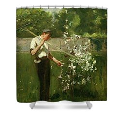 Shower Curtain featuring the painting Boy With A Grass Rake by Henry Scott Tuke