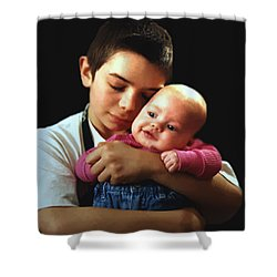 Shower Curtain featuring the photograph Boy With Bald-headed Baby by RC deWinter