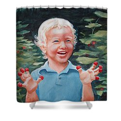 Boy With Raspberries Shower Curtain by Marilyn Jacobson