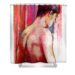 Boy With Vertical Lines Shower Curtain by Rene Capone