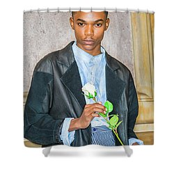 Boy With White Rose 15042618 Shower Curtain
