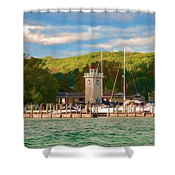 Boyne City Marina Shower Curtain