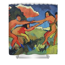 Boys And Girls Playing Shower Curtain