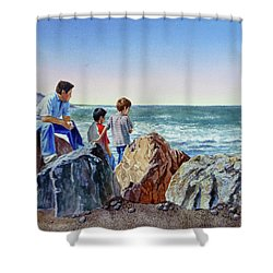 Boys And The Ocean Shower Curtain