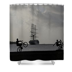 Shower Curtain featuring the photograph Boys At Play by Sharon Jones