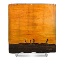 Shower Curtain featuring the painting Boys At Sunset by Ian  MacDonald