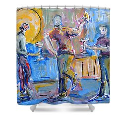 Shower Curtain featuring the painting Boys Night Out by Mary Schiros