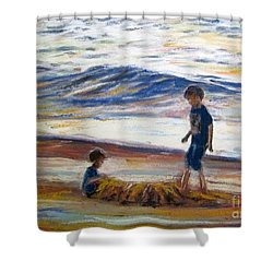 Boys Playing At The Beach Shower Curtain