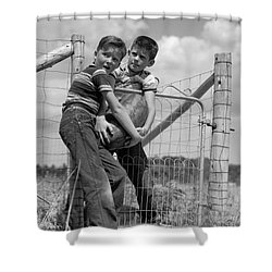 Boys Stealing A Watermelon, C.1950s Shower Curtain by H. Armstrong Roberts/ClassicStock