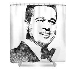 Brad Pitt Bw Portrait Shower Curtain by Mihaela Pater