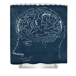 Brain Drawing On Chalkboard Shower Curtain