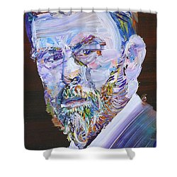 Shower Curtain featuring the painting Bram Stoker - Oil Portrait by Fabrizio Cassetta