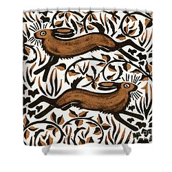 Bramble Hares Shower Curtain by Nat Morley