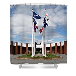 Shower Curtain featuring the photograph Brandeis University Gosman Sports And Convocaton Center by Betty Denise