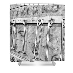 Branding Irons Black And White Photography Shower Curtain