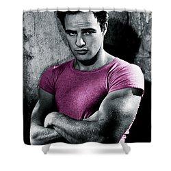 Brando In Pink Shower Curtain