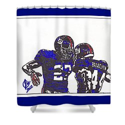 Shower Curtain featuring the drawing Brandon Jacobs And Ahmad Bradshaw by Jeremiah Colley