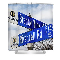 Brandywine And Rivendell Street Signs Shower Curtain by Gary Whitton