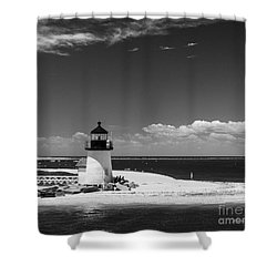 Brant Point Lighthouse Shower Curtain by Michelle Wiarda