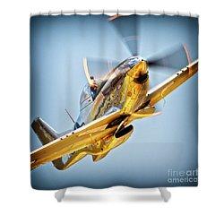 Brant Seghetti And P-51d Mustang Full Throttle Shower Curtain