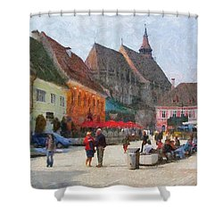 Brasov Council Square Shower Curtain by Jeff Kolker
